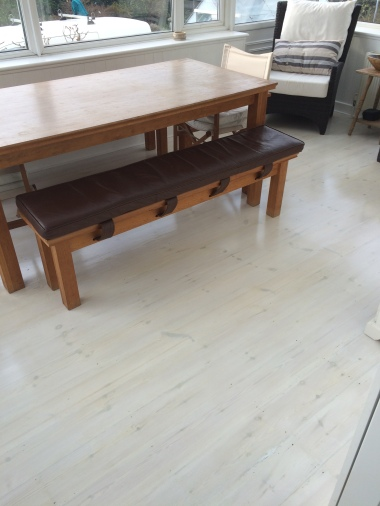 Sand back, whitewash and lacquer