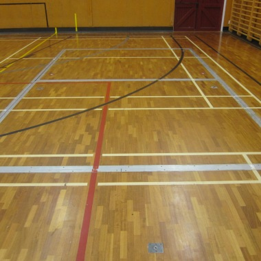 School sports hall sanded, resealed and markings redone